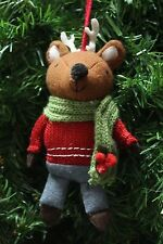 HANDCRAFTED PLUSH WOODLAND REINDEER DRESSED UP w/ SCARF CHRISTMAS TREE ORNAMENT