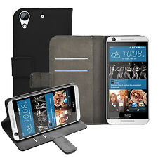 Wallet BLACK Leather Flip Case Cover Pouch Saver For HTC Desire 626s (+2 FILMS)