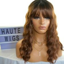 """16"""" MEDIUM BROWN OMBRE CURLY WIG BANGS FRINGE PERM HUMAN HAIR BABY WAVY WAVES"""
