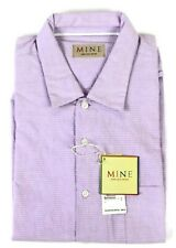 MINE Short Sleeve Seersucker Purple Shirt Mens Large $85 NWT 100% Cotton