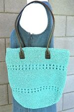 Turquoise Crocheted Paper Straw Summer Beach Tote Shoulder Bag Purse Blue