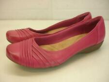 Women's 10 M Clarks Bendables Propose Pixie Ballet Flat Shoes Pink Leather Wedge