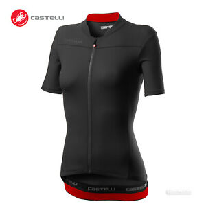 Castelli ANIMA 3 Womens Short Sleeve Cycling Bike Jersey : LIGHT BLACK/RED