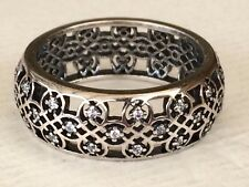 Authentic Pandora Silver CZ Intricate Lattice Ring Size 48 190955 AS NEW