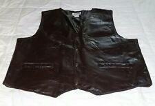 Mens Duke Haband 100% Leather Patch Work Vest XL Brown