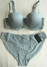 New & Tagged Matching Set Padded Lace Trimmed Bra 38C & High Leg Briefs Size 16