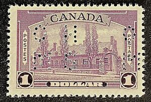 Canadian Stamp, Scott O245 1 Dollar Pictorial Issue Ramesay - OHMS 1938 VF M/H