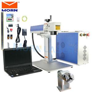 30W Mini Fiber Laser Marking Engraving Machine 110*110mm 80mm Rotary