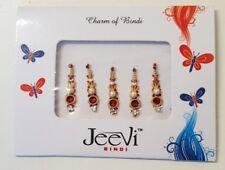 Bindis STYLE 2 Bindi RED Rangoli Crystal Gem Long Tikka Pack of 5