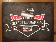 Tin Sign Vintage Search For A Champion Spark Plugs