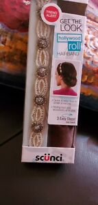 NEW Scunci Hollywood Roll Rollable Beaded Sequin Headband Wedding Party Prom