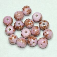 15 INDIAN GLASS 10 mm ROUND BEADS PINK WITH GOLD HIGHLIGHTS (BBB583)