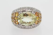 .925 Sterling Silver / Orthoclase / Yellow Sapphire / White Topaz Ring