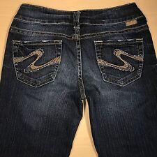 SILVER Jeans SUKI Bootcut 27x32 Darker Blue Distressed  *Mint LN*  081717
