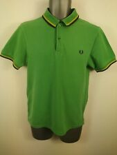 MENS FRED PERRY GREEN BURGUNDY SHORT SLEEVED SLIM FIT POLO SHIRT SIZE S SMALL