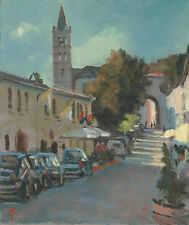 "ORIGINAL MICHAEL RICHARDSON OIL ""Dusk Assisi"" St Francis Italy Perugia PAINTING"