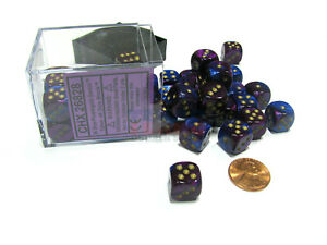 Gemini 12mm D6 Chessex Dice Block (36 Dice) - Blue-Purple with Gold Pips