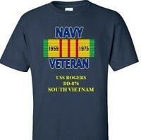 USS ROGERS  DD-876 NAVY VIETNAM CAMPAIGN RIBBON & VINYL SHIRT/SWEAT