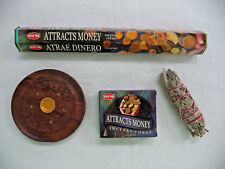 Attracts Money 20 Sticks and 10 Cones Incense Set + Burner and White Sage Stick