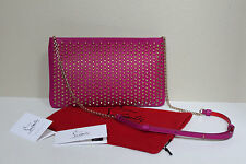 New Christian Louboutin Loubiposh Gold Studded Pink Leather Clutch Purse Bag