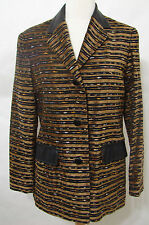 ATELIER Paris Jacket Textured Tapestry Print Leather Trim Silk Lined NWOT 40