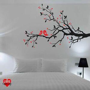 Love Birds on a Branch with Hearts design vinyl wall art sticker