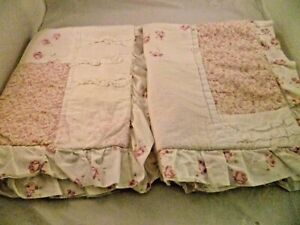 SIMPLY SHABBY CHIC  DITSY PINK  ROSE  PATCHWORK  RUFFLE  PAIR  STANDARD  SHAMS