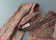 Vintage CUZZENS Fontainebleau Olive Red Paisley Mens Silk Ascot Necktie Tie MINT