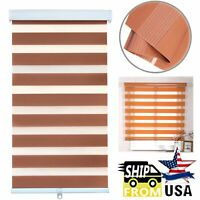 """HTTMT- 24"""" Zebra Blinds Shade Day Night Dual Layer Window Curtains Horizontal Br"""