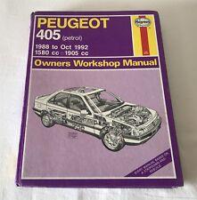 Peugeot 405 Petrol 1988 - Oct 1992 Haynes 1559 Owners Workshop Manual 1993
