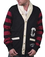 Crooks & Castles Knit Air Guns Shawl Collar Black/Scarlet Cardigan Sweater S NWT