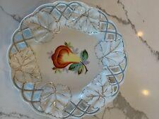 New listing Three Antique Vintage Fruit Motif Plates Porcelain Made in Bavaria Germany Gold