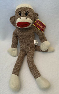 ANIMAL ALLEY Toys R Us NWT Brown Classic Sock Monkey Plush Stuffed Toy 2010 NEW