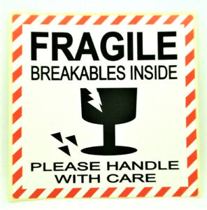 FRAGILE GLASS HANDLE WITH CARE Labels  Stickers LARGE 100x100mm, PPI-FRA-GL