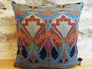 Liberty William Morris Ianthe Linen & Velvet Back Fabric Arts Cushion Cover Navy