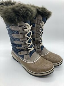 Sorel Womens Boots Size 9 Winter Fur Boots Waterproof NL1911-467 Blue and Tan