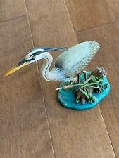 Danbury Mint Surveying The Shallows Jeff Rechin Great Blue Heron Bird Gorgeous!
