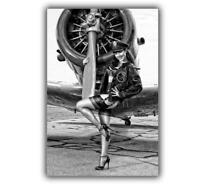 """War Avia Pin UP Nice Sexy Woman with a fighter WW2 Photo """"4 x 6"""" inch Z"""