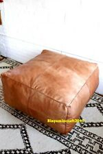 Moroccan  Large Square  Foot Stool Pouf ottoman Footstool Genuine  Leather