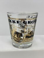 Vintage Lake George New York Souvenir Shot Glass Gold and Black