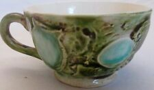 Majolica Ceramic Coffee Tea Mug Cup 3D Green Blue Shells