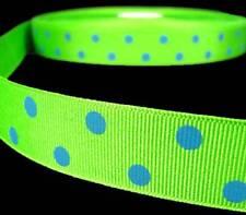 """5 Yards Green Blue Polka Dot Polkadot Grosgrain Ribbon 7/8""""W"""