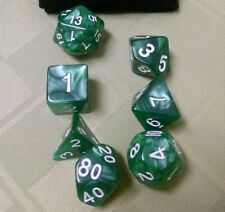 7 Piece Nebula Polyhedral Dice Set with Free Black Velvet Bag (Deep Green)