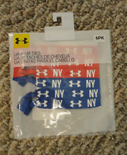 NEW Under Armour Set of 6 Women's Hair Ties NY RED & BLUE