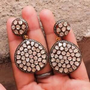 Love it Polki Diamond & Pave Diamond Earring 925 Sterling Silver Drop Earring