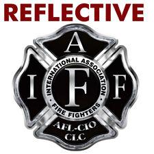 """REFLECTIVE Firefighter """"IAFF BLACK CROSS"""" Sticker - Vinyl Decal Fire #FS2059"""