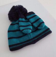 NEXT Baby Boys Lined Beanie Hat & Mittens Set Striped__3-6 Months BNWT