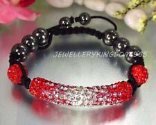 Tíbet Shamballa Cristales Austriacos rojo largo shbr 016 Pulsera de Abalorios Macramé