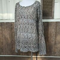 Soft Surroundings brown knit eyelet sweater size M / L