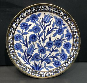 Greek Rodos Hand Painted Plate - Blue Floral - 18cm Approx